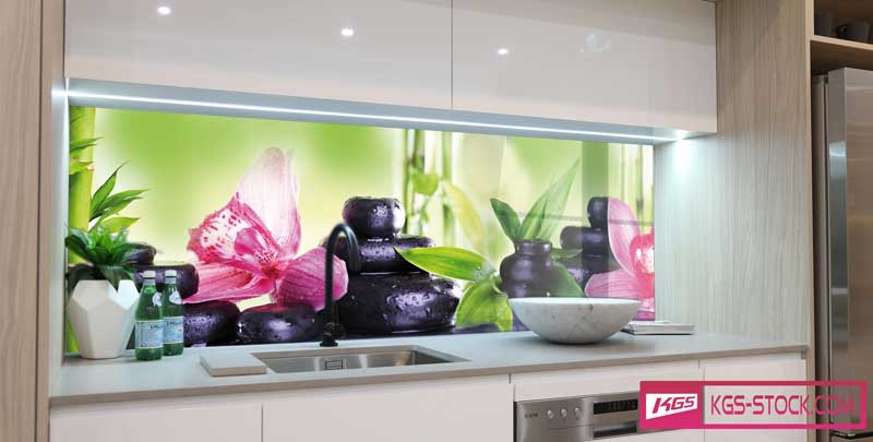 Splashbacks Glass design - Pink Orchids and black stones - 100505