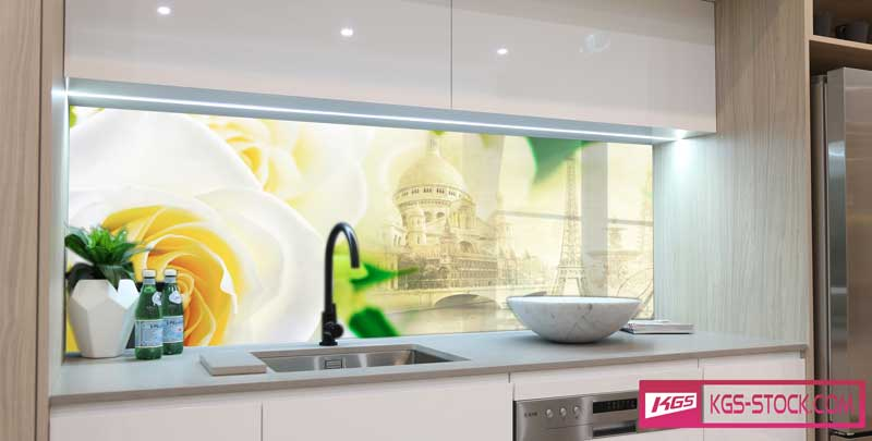 Splashbacks Glass design - White roses and Cities - 100506