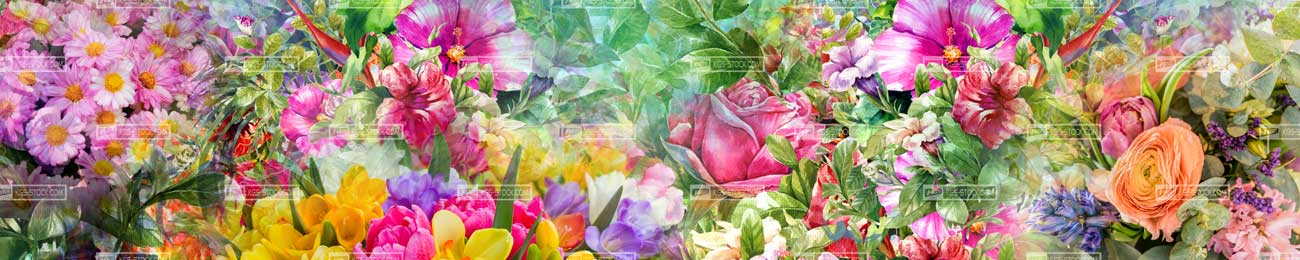 Splashbacks Glass design - Flowers heaven - 100507 Image