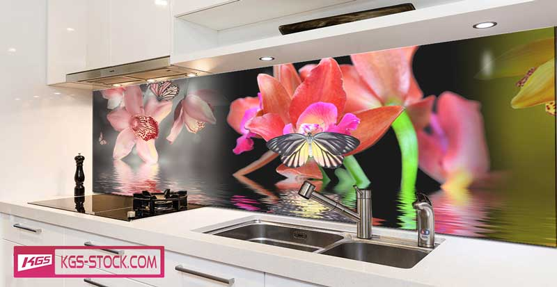 Splashbacks Glass design - Flowers in water- 100509