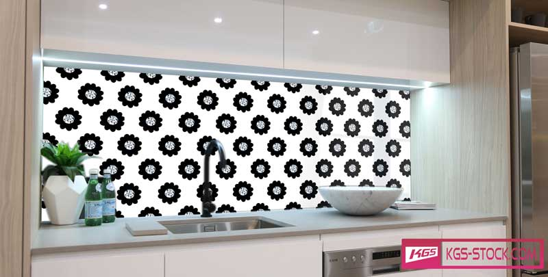 Splashbacks Glass design - Black flowers and Diamonds - 100516