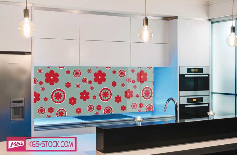 Splashbacks Glass design - Red Flowers pattern - 100519