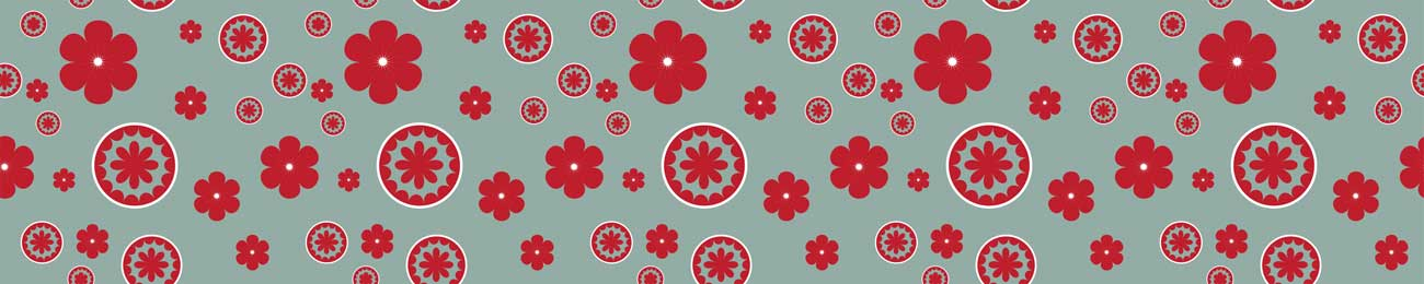 Splashbacks Glass design - Red Flowers pattern - 100519 Image