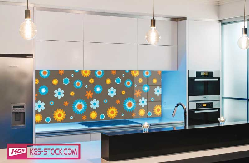 Splashbacks Glass design - Blue and yellow Flowers - 100521