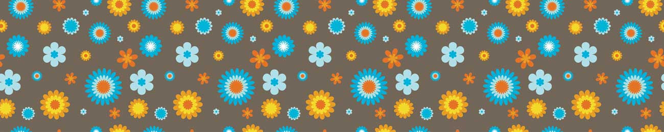 Splashbacks Glass design - Blue and yellow Flowers - 100521 Image