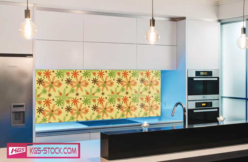 Splashbacks Glass design - Colorful chamomiles - 100522