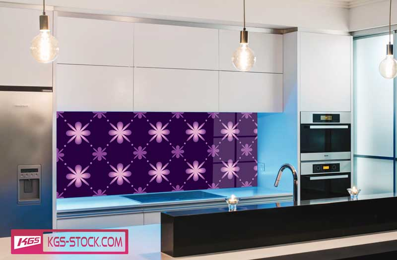 Splashbacks Glass design - Purple flowers - 100523