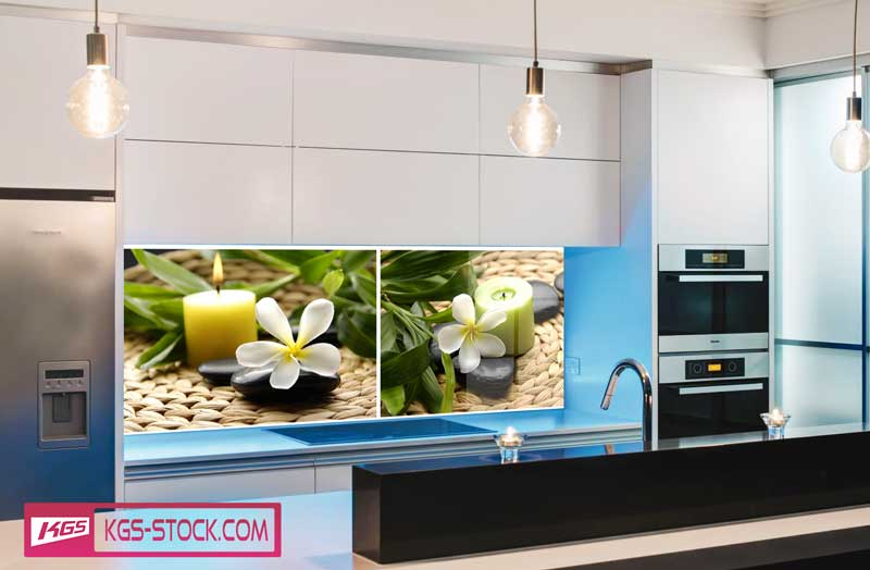 Splashbacks Glass design - Black stones and white flowers - 100525