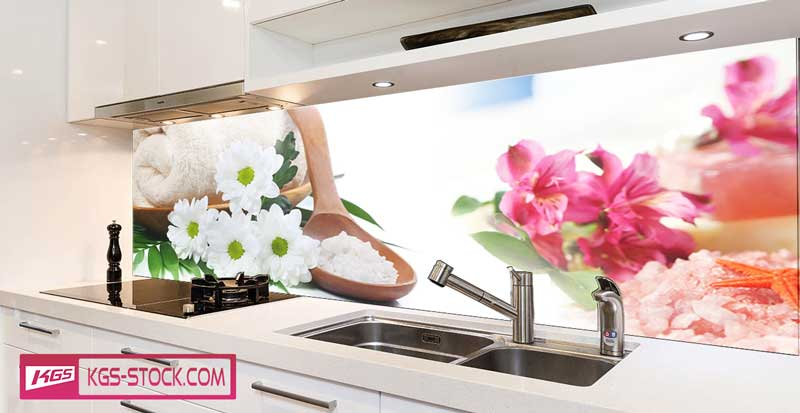 Splashbacks Glass design - Beautiful flowers for spa - 100527