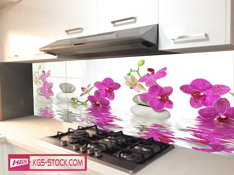 Splashbacks Glass design - Purple Orchids and stones in water - 100575