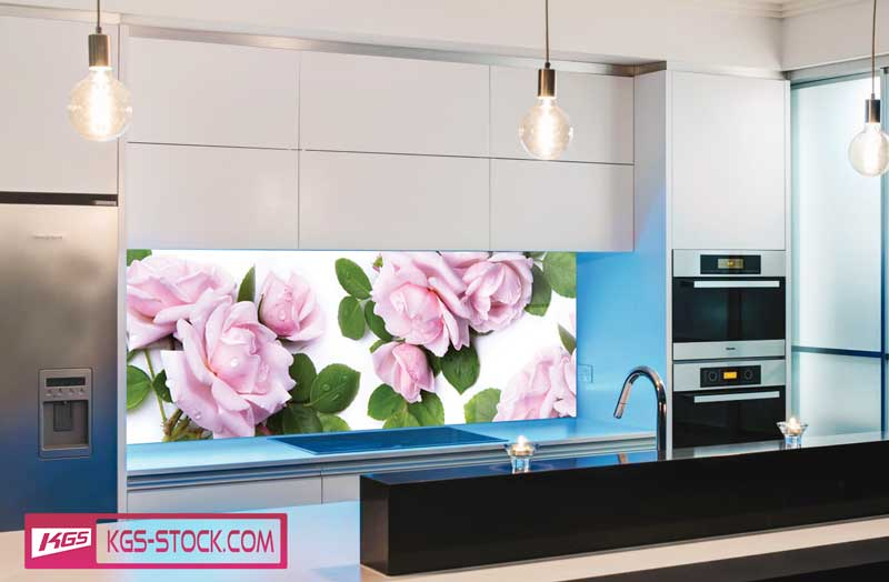 Splashbacks Glass design - Beautiful pink roses - 100577