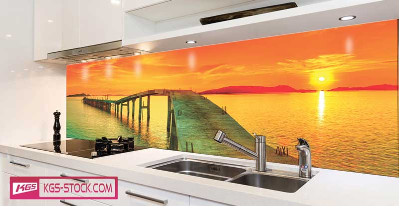Splashbacks Glass design - Beautiful sunset and bridge - 100441