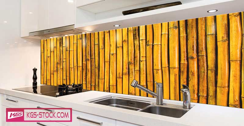 Splashbacks Glass design - Yellow bamboo - 100442