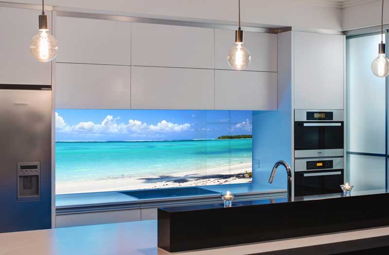 Splashbacks Glass design - White sand and beach - 1004111