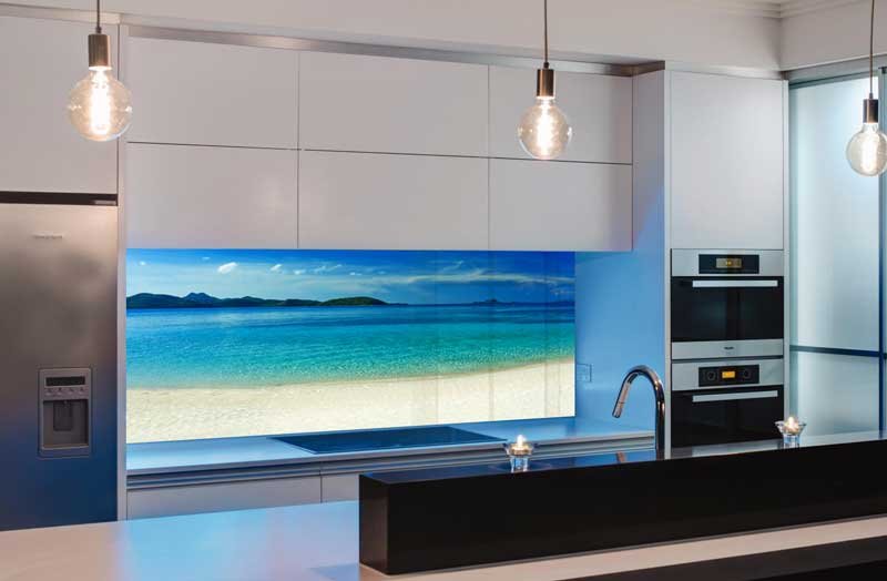 Splashbacks Glass design - White sand and blue ocean- 100413