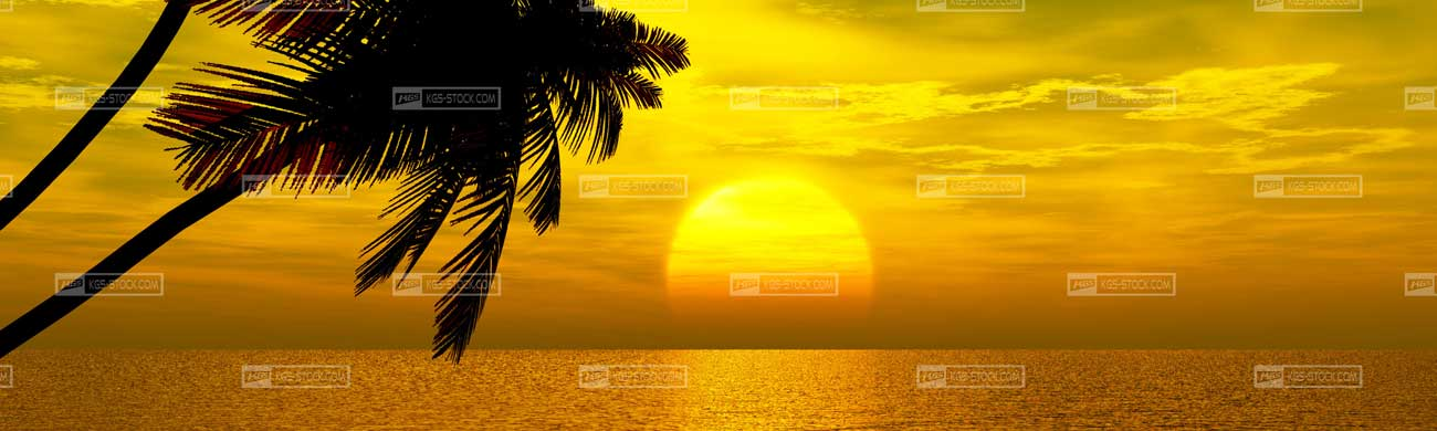 Splashbacks Glass design - Tropical beach sundown - 100414