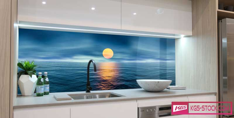 Splashbacks Glass design - Sundown in blue ocean - 100418