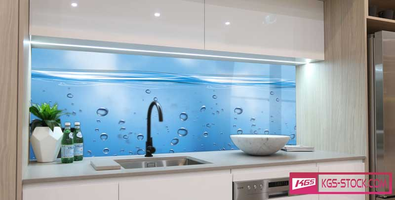 Splashbacks Glass design - Bubbles under ocean - 100421