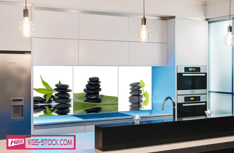 Splashbacks Glass design - Black stones and bamboo tree - 100424