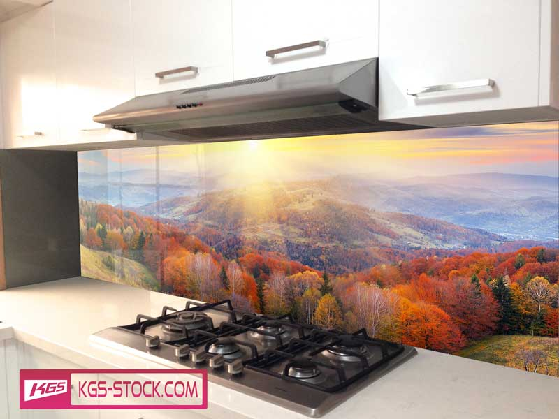 Splashbacks Glass design - Mountain Forest in autumn  - 100430