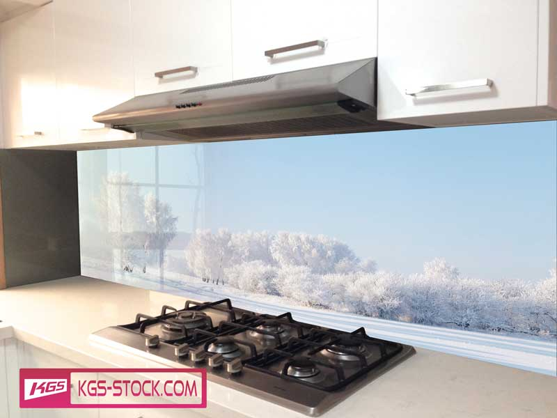 Splashbacks Glass design - White snow field  - 100431