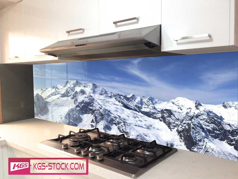 Splashbacks Glass design - Snow rock mountains  - 100435